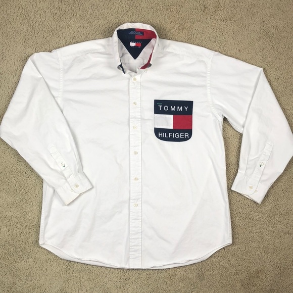 0b4c9d91 Tommy Hilfiger Shirts | Vtg Button Down Shirt Mens Large | Poshmark